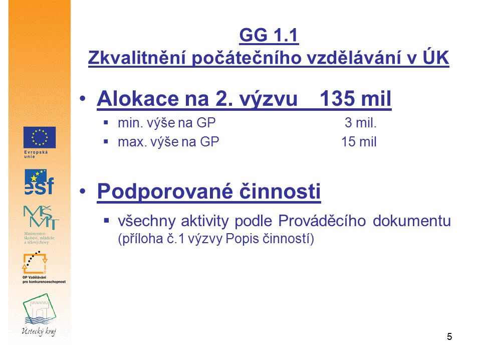 5 Alokace na 2. výzvu135 mil  min. výše na GP 3 mil.  max. výše na GP 15 mil Podporované činnosti  všechny aktivity podle Prováděcího dokumentu (př