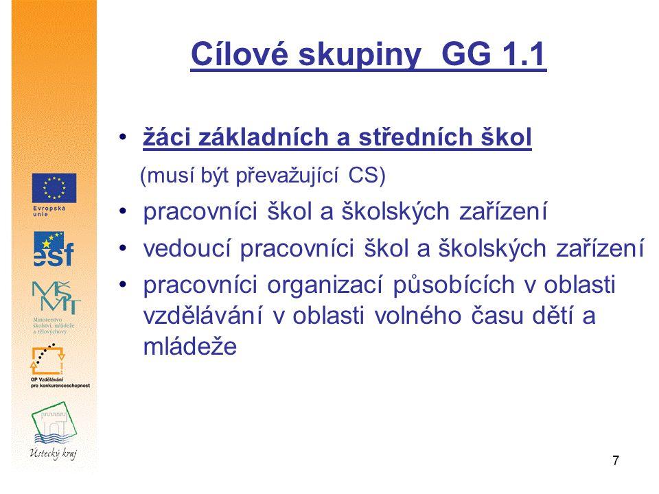 7 Cílové skupiny GG 1.1 žáci základních a středních škol (musí být převažující CS) pracovníci škol a školských zařízení vedoucí pracovníci škol a školských zařízení pracovníci organizací působících v oblasti vzdělávání v oblasti volného času dětí a mládeže