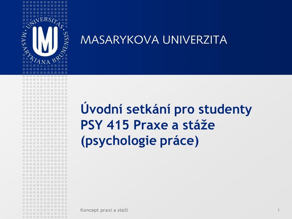 Koncept praxí a stáží2 Povinné praxe a stáže na katedře psychologie FSS MU PSY412 Praxe a stáže (psychoterapie a klinická psychologie) garant: Mgr.