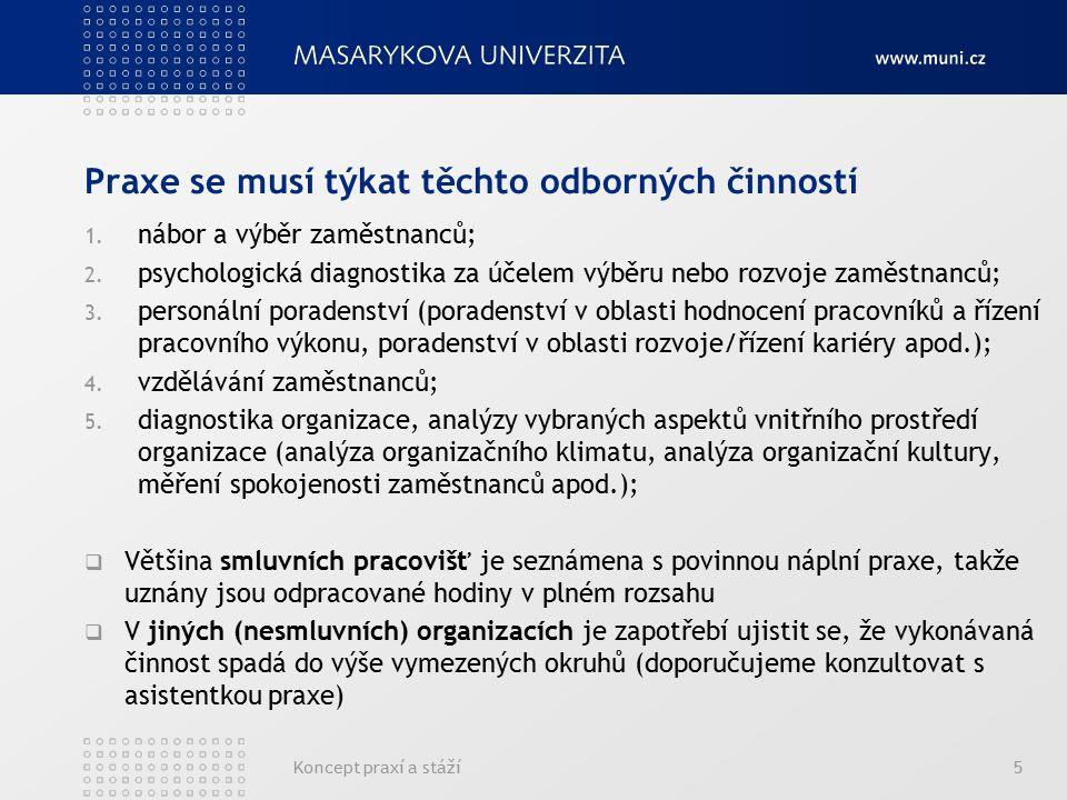 Praxe se musí týkat těchto odborných činností 1. nábor a výběr zaměstnanců; 2. psychologická diagnostika za účelem výběru nebo rozvoje zaměstnanců; 3.