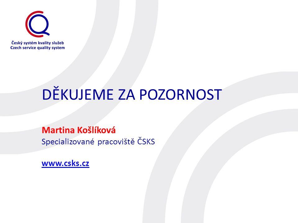 DĚKUJEME ZA POZORNOST Martina Košlíková Specializované pracoviště ČSKS www.csks.cz www.csks.cz