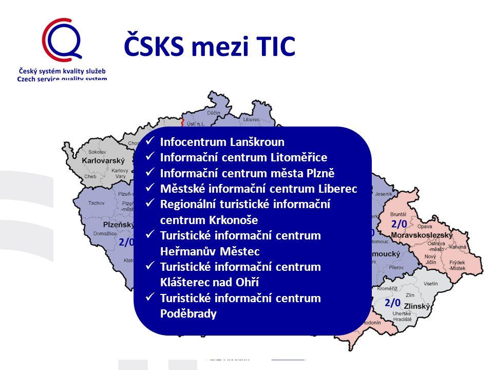 ČSKS mezi TIC Infocentrum Lanškroun Informační centrum Litoměřice Informační centrum města Plzně Městské informační centrum Liberec Regionální turisti