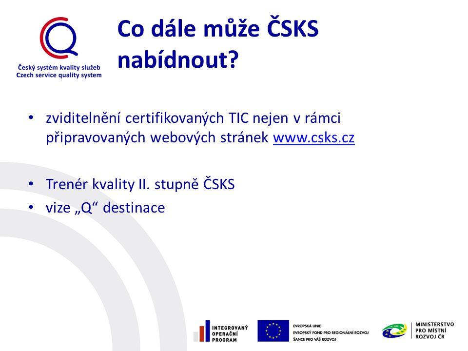 Co dále může ČSKS nabídnout? zviditelnění certifikovaných TIC nejen v rámci připravovaných webových stránek www.csks.czwww.csks.cz Trenér kvality II.