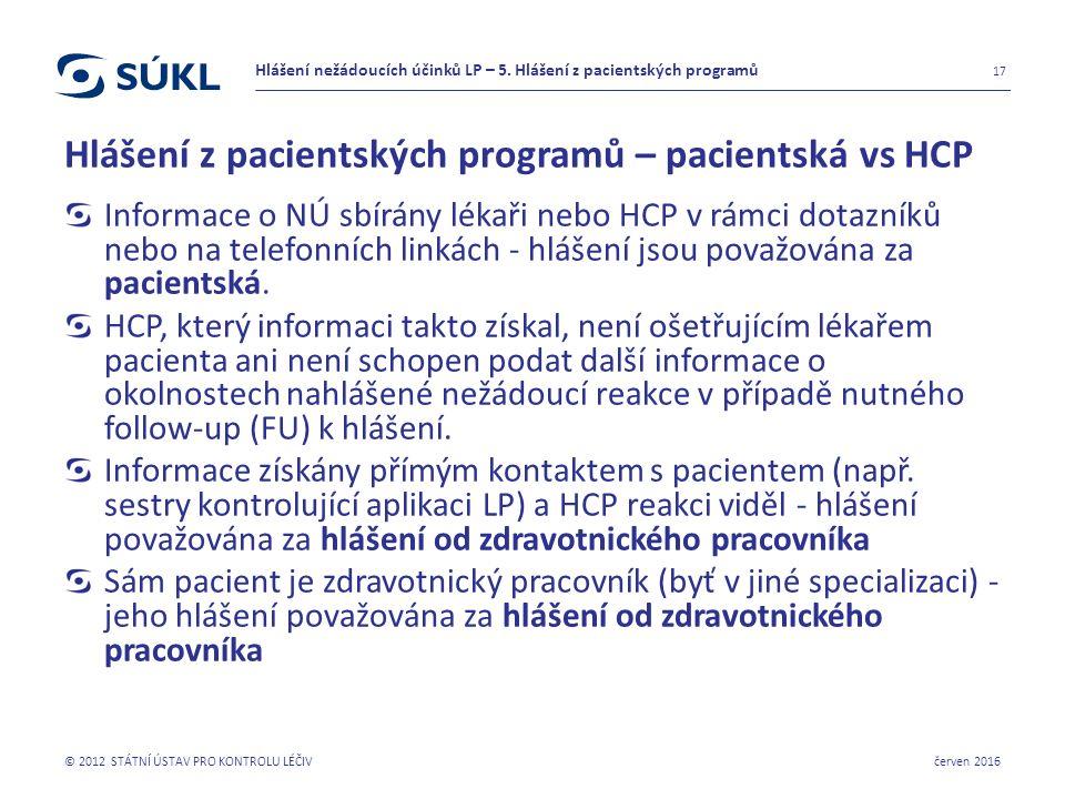 Hlášení z pacientských programů – pacientská vs HCP Informace o NÚ sbírány lékaři nebo HCP v rámci dotazníků nebo na telefonních linkách - hlášení jsou považována za pacientská.