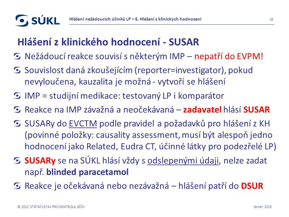 Hlášení z klinického hodnocení - SUSAR Nežádoucí reakce souvisí s některým IMP – nepatří do EVPM.