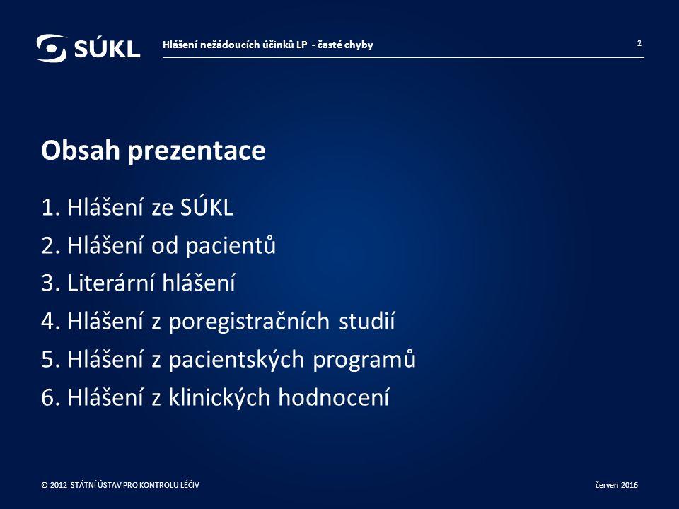 Obsah prezentace 1. Hlášení ze SÚKL 2. Hlášení od pacientů 3.
