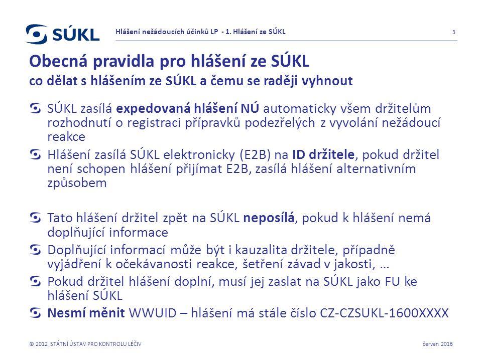 Obecná pravidla pro hlášení ze SÚKL co dělat s hlášením ze SÚKL a čemu se raději vyhnout SÚKL zasílá expedovaná hlášení NÚ automaticky všem držitelům rozhodnutí o registraci přípravků podezřelých z vyvolání nežádoucí reakce Hlášení zasílá SÚKL elektronicky (E2B) na ID držitele, pokud držitel není schopen hlášení přijímat E2B, zasílá hlášení alternativním způsobem Tato hlášení držitel zpět na SÚKL neposílá, pokud k hlášení nemá doplňující informace Doplňující informací může být i kauzalita držitele, případně vyjádření k očekávanosti reakce, šetření závad v jakosti, … Pokud držitel hlášení doplní, musí jej zaslat na SÚKL jako FU ke hlášení SÚKL Nesmí měnit WWUID – hlášení má stále číslo CZ-CZSUKL-1600XXXX červen 2016 © 2012 STÁTNÍ ÚSTAV PRO KONTROLU LÉČIV 3 Hlášení nežádoucích účinků LP - 1.