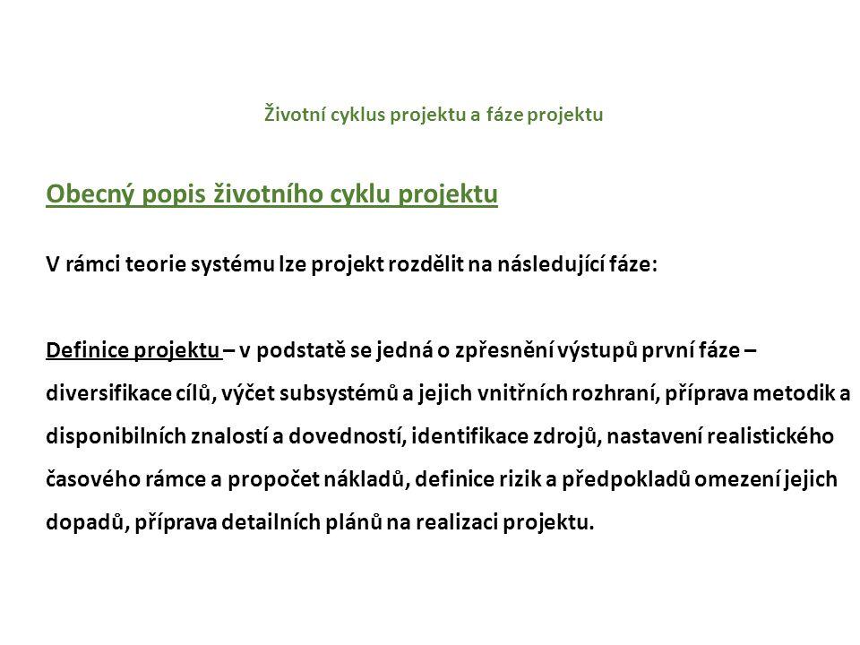Životní cyklus projektu a fáze projektu Fáze životního cyklu projektu V případě některých projektů s velkou mírou neurčitosti bývá volen přístup postupného startování jednotlivých fází životního cyklu projektu.