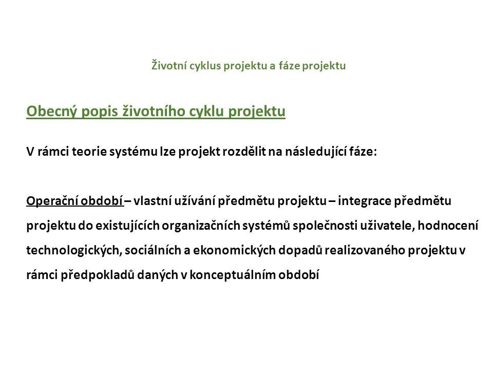 Životní cyklus projektu a fáze projektu Obecný popis životního cyklu projektu V rámci teorie systému lze projekt rozdělit na následující fáze: Vyřazení projektu– převedení předmětu projektu do stadia podpory a do případné odpovědnosti organizace, která podporu poskytuje, převedení zdrojů (např.