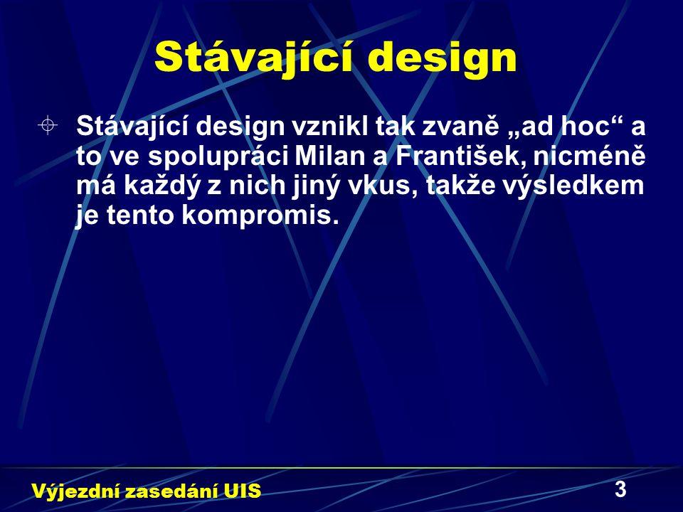 """3 Stávající design  Stávající design vznikl tak zvaně """"ad hoc a to ve spolupráci Milan a František, nicméně má každý z nich jiný vkus, takže výsledkem je tento kompromis."""