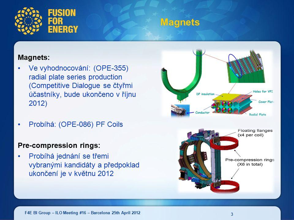 Magnets: Ve vyhodnocování: (OPE-355) radial plate series production (Competitive Dialogue se čtyřmi účastníky, bude ukončeno v říjnu 2012) Probíhá: (OPE-086) PF Coils Pre-compression rings: Probíhá jednání se třemi vybranými kandidáty a předpoklad ukončení je v květnu 2012 Magnets 3 F4E BI Group – ILO Meeting #16 – Barcelona 25th April 2012