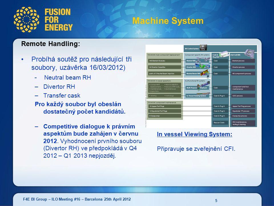 Remote Handling: Probíhá soutěž pro následující tři soubory, uzávěrka 16/03/2012) - Neutral beam RH –Divertor RH –Transfer cask Pro každý soubor byl obeslán dostatečný počet kandidátů.