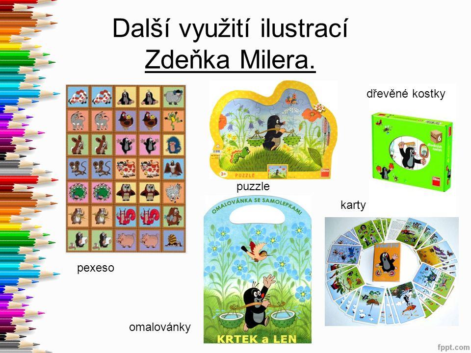 Další využití ilustrací Zdeňka Milera. pexeso omalovánky karty puzzle dřevěné kostky