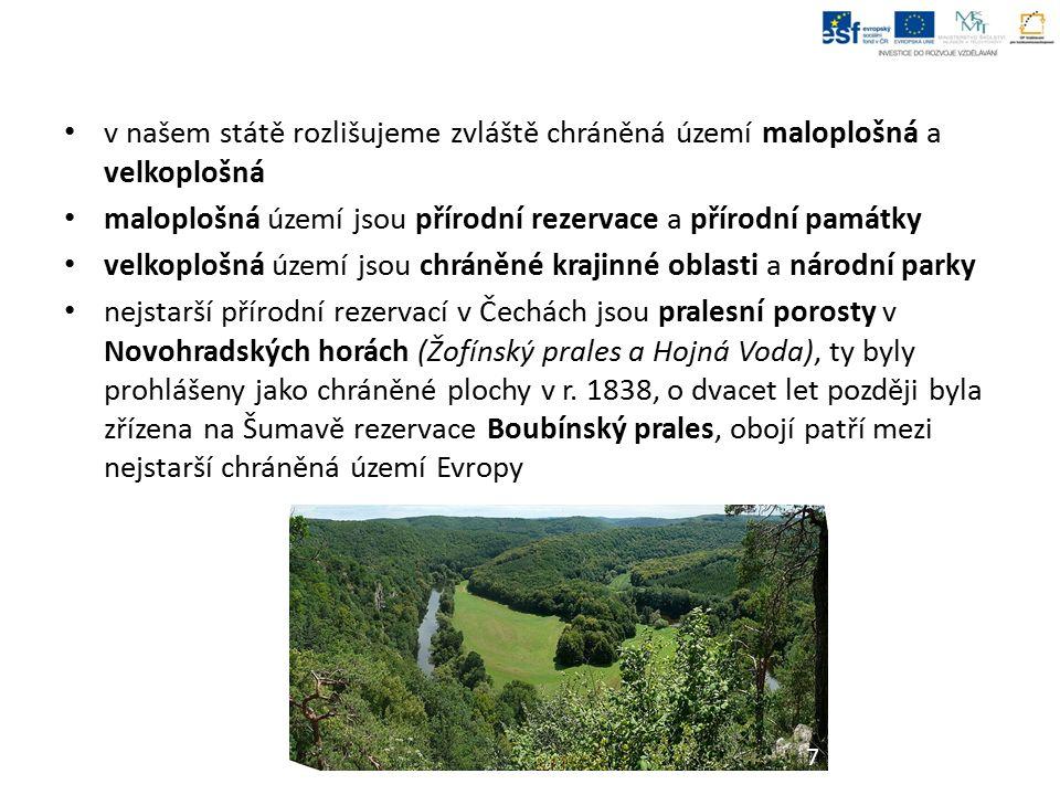 v našem státě rozlišujeme zvláště chráněná území maloplošná a velkoplošná maloplošná území jsou přírodní rezervace a přírodní památky velkoplošná území jsou chráněné krajinné oblasti a národní parky nejstarší přírodní rezervací v Čechách jsou pralesní porosty v Novohradských horách (Žofínský prales a Hojná Voda), ty byly prohlášeny jako chráněné plochy v r.