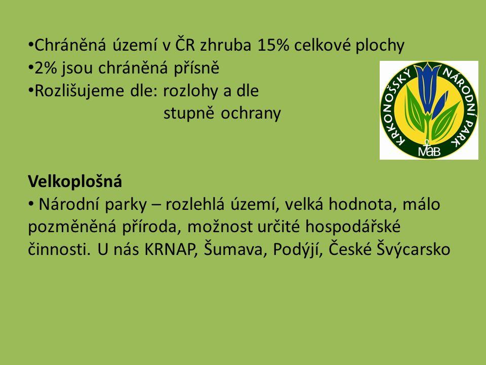 Chráněná území v ČR zhruba 15% celkové plochy 2% jsou chráněná přísně Rozlišujeme dle: rozlohy a dle stupně ochrany Velkoplošná Národní parky – rozlehlá území, velká hodnota, málo pozměněná příroda, možnost určité hospodářské činnosti.