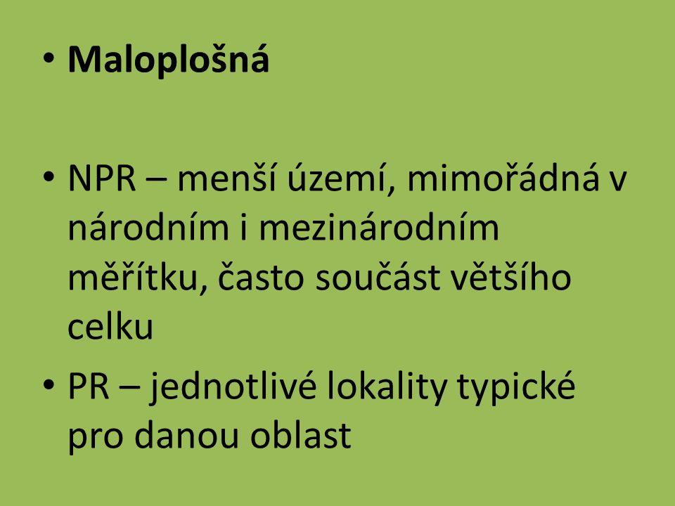Maloplošná NPR – menší území, mimořádná v národním i mezinárodním měřítku, často součást většího celku PR – jednotlivé lokality typické pro danou oblast