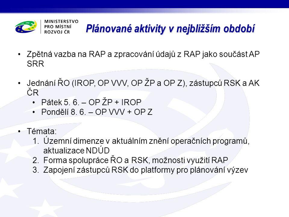 """Plánované aktivity v nejbližším období Tvorba AP SRR Rezorty dopisem ministryně požádány o spolupráci – vlastní aktivity naplňující opatření SRR, připravované dotační tituly na období 2015 – 2016 Kapitola """"Priority regionů v rámci uplatňování AP SRR = souhrnná informace za RAP"""