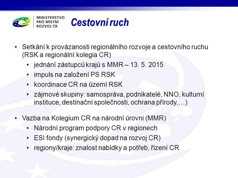 Cestovní ruch Setkání k provázanosti regionálního rozvoje a cestovního ruchu (RSK a regionální kolegia CR) jednání zástupců krajů s MMR – 13.