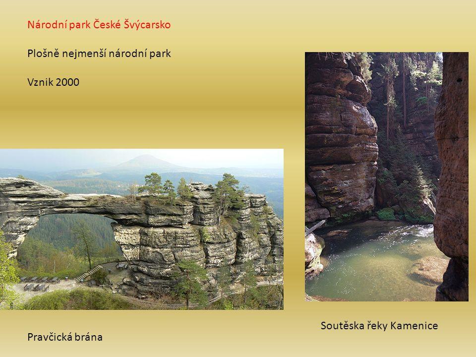 Národní park České Švýcarsko Plošně nejmenší národní park Vznik 2000 Pravčická brána Soutěska řeky Kamenice
