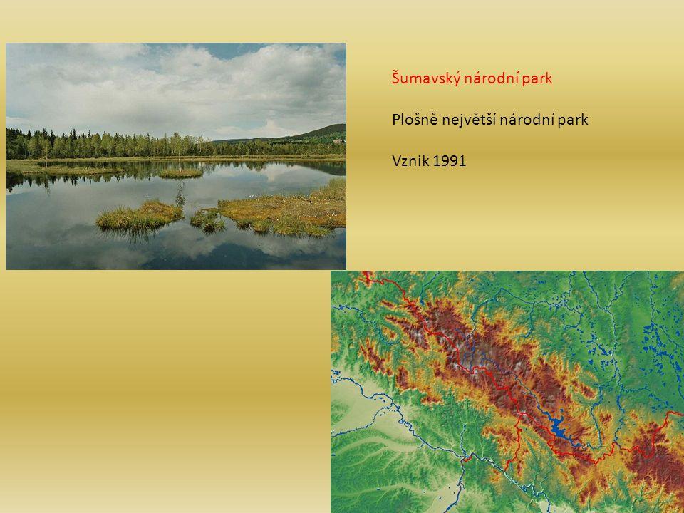 Šumavský národní park Plošně největší národní park Vznik 1991
