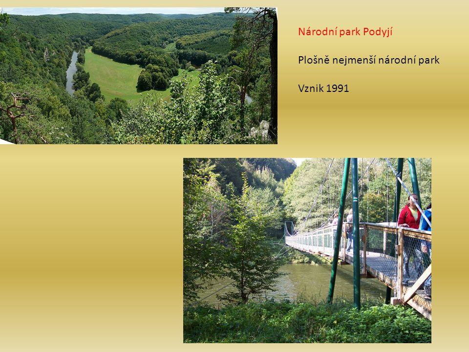 Národní park Podyjí Plošně nejmenší národní park Vznik 1991