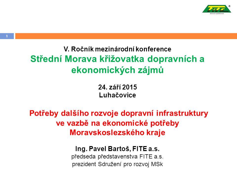 1 V. Ročník mezinárodní konference Střední Morava křižovatka dopravních a ekonomických zájmů 24.