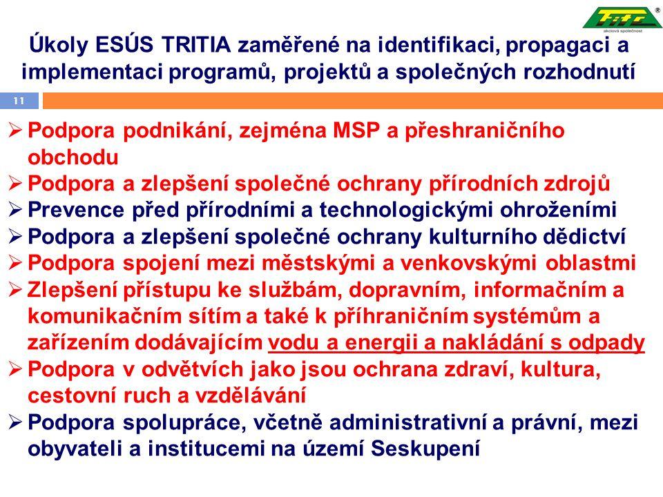 Úkoly ESÚS TRITIA zaměřené na identifikaci, propagaci a implementaci programů, projektů a společných rozhodnutí 11  Podpora podnikání, zejména MSP a přeshraničního obchodu  Podpora a zlepšení společné ochrany přírodních zdrojů  Prevence před přírodními a technologickými ohroženími  Podpora a zlepšení společné ochrany kulturního dědictví  Podpora spojení mezi městskými a venkovskými oblastmi  Zlepšení přístupu ke službám, dopravním, informačním a komunikačním sítím a také k příhraničním systémům a zařízením dodávajícím vodu a energii a nakládání s odpady  Podpora v odvětvích jako jsou ochrana zdraví, kultura, cestovní ruch a vzdělávání  Podpora spolupráce, včetně administrativní a právní, mezi obyvateli a institucemi na území Seskupení