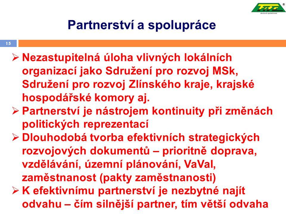 Partnerství a spolupráce 15  Nezastupitelná úloha vlivných lokálních organizací jako Sdružení pro rozvoj MSk, Sdružení pro rozvoj Zlínského kraje, krajské hospodářské komory aj.