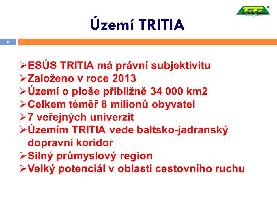 Území TRITIA 6  ESÚS TRITIA má právní subjektivitu  Založeno v roce 2013  Území o ploše přibližně 34 000 km2  Celkem téměř 8 milionů obyvatel  7 veřejných univerzit  Územím TRITIA vede baltsko-jadranský dopravní koridor  Silný průmyslový region  Velký potenciál v oblasti cestovního ruchu