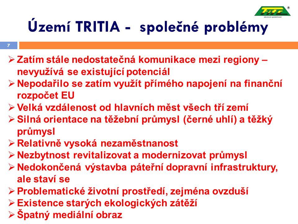 Území TRITIA - společné problémy 7  Zatím stále nedostatečná komunikace mezi regiony – nevyužívá se existující potenciál  Nepodařilo se zatím využít přímého napojení na finanční rozpočet EU  Velká vzdálenost od hlavních měst všech tří zemí  Silná orientace na těžební průmysl (černé uhlí) a těžký průmysl  Relativně vysoká nezaměstnanost  Nezbytnost revitalizovat a modernizovat průmysl  Nedokončená výstavba páteřní dopravní infrastruktury, ale staví se  Problematické životní prostředí, zejména ovzduší  Existence starých ekologických zátěží  Špatný mediální obraz
