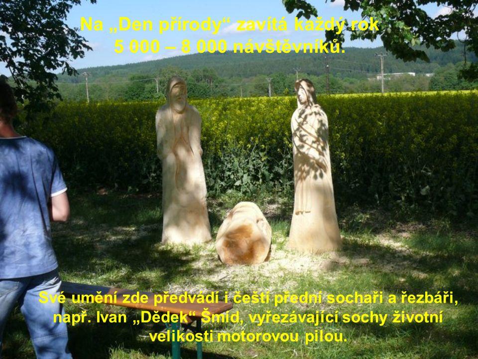 """Své umění zde předvádí i čeští přední sochaři a řezbáři, např. Ivan """"Dědek"""" Šmíd, vyřezávající sochy životní velikosti motorovou pilou. Na """"Den přírod"""