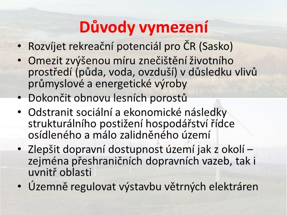 Důvody vymezení Rozvíjet rekreační potenciál pro ČR (Sasko) Omezit zvýšenou míru znečištění životního prostředí (půda, voda, ovzduší) v důsledku vlivů průmyslové a energetické výroby Dokončit obnovu lesních porostů Odstranit sociální a ekonomické následky strukturálního postižení hospodářství řídce osídleného a málo zalidněného území Zlepšit dopravní dostupnost území jak z okolí – zejména přeshraničních dopravních vazeb, tak i uvnitř oblasti Územně regulovat výstavbu větrných elektráren