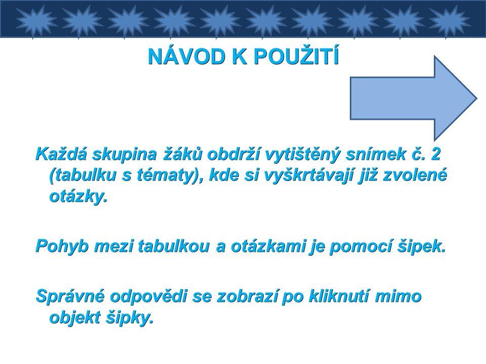 NÁVOD K POUŽITÍ Každá skupina žáků obdrží vytištěný snímek č.