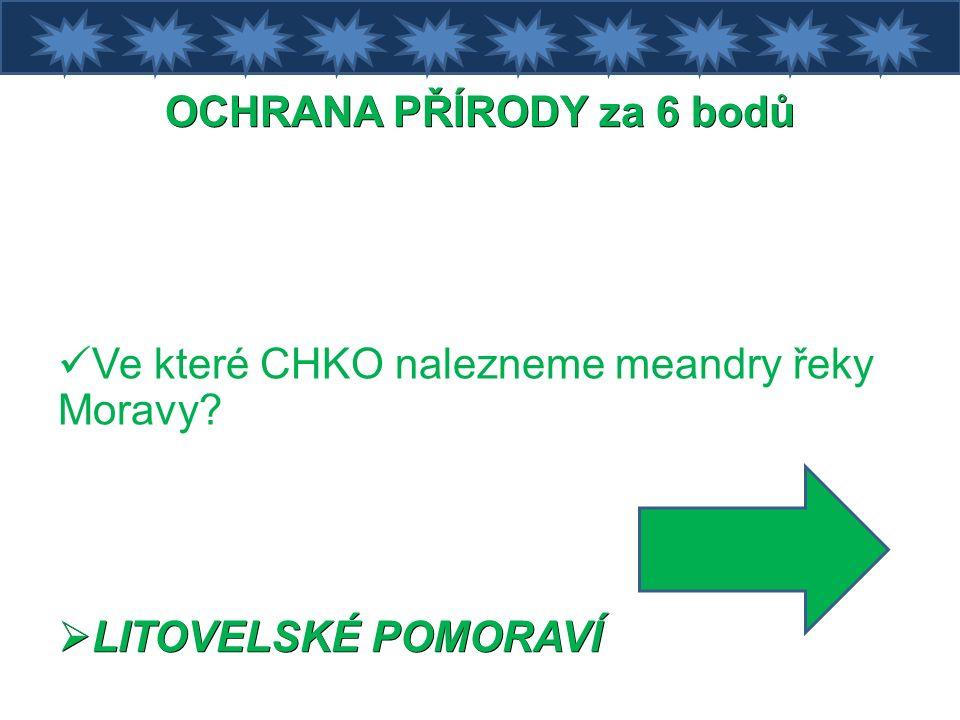 OCHRANA PŘÍRODY za 6 bodů Ve které CHKO nalezneme meandry řeky Moravy  LITOVELSKÉ POMORAVÍ