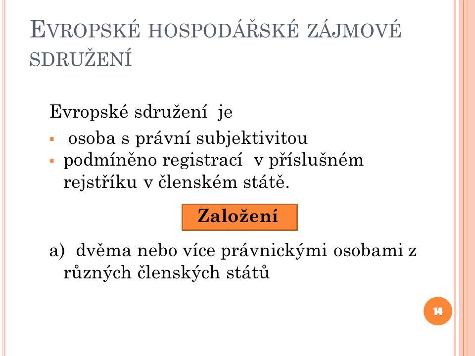 E VROPSKÉ HOSPODÁŘSKÉ ZÁJMOVÉ SDRUŽENÍ Evropské sdružení je  osoba s právní subjektivitou  podmíněno registrací v příslušném rejstříku v členském státě.
