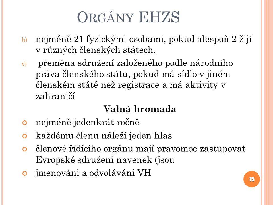 O RGÁNY EHZS b) nejméně 21 fyzickými osobami, pokud alespoň 2 žijí v různých členských státech.