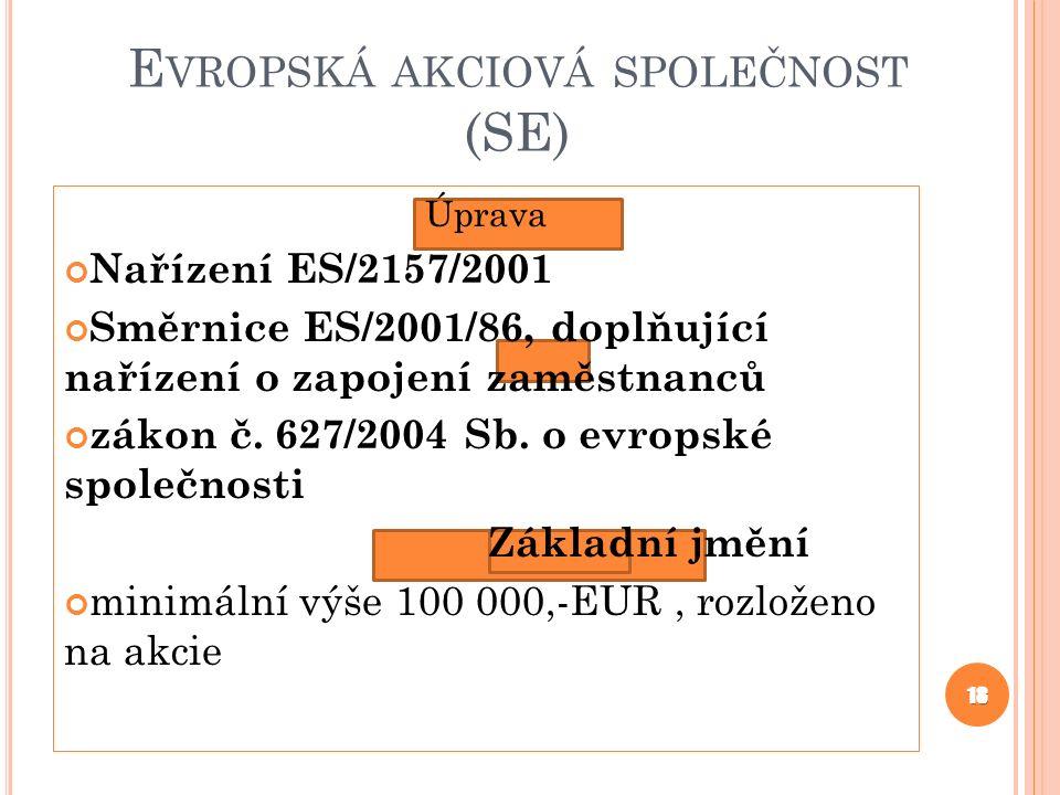 E VROPSKÁ AKCIOVÁ SPOLEČNOST (SE) Úprava Nařízení ES/2157/2001 Směrnice ES/2001/86, doplňující nařízení o zapojení zaměstnanců zákon č. 627/2004 Sb. o