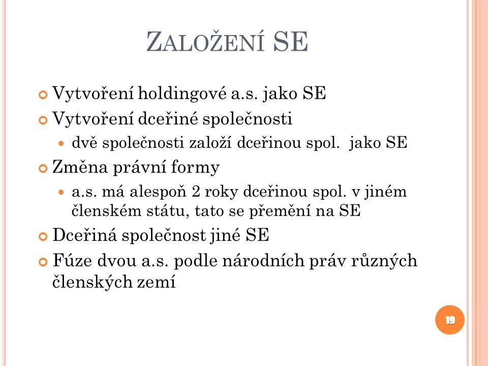 Z ALOŽENÍ SE Vytvoření holdingové a.s.