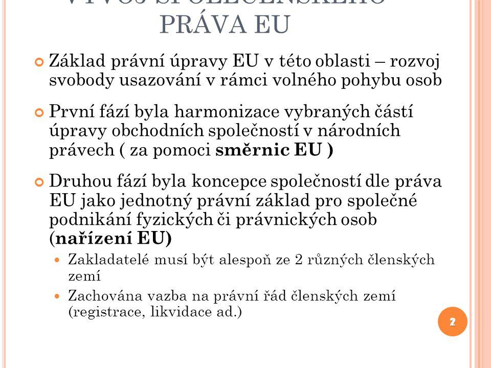 VÝVOJ SPOLEČENSKÉHO PRÁVA EU Základ právní úpravy EU v této oblasti – rozvoj svobody usazování v rámci volného pohybu osob První fází byla harmonizace