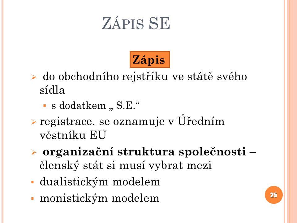 """Z ÁPIS SE Zápis  do obchodního rejstříku ve státě svého sídla  s dodatkem """" S.E.""""  registrace. se oznamuje v Úředním věstníku EU  organizační stru"""