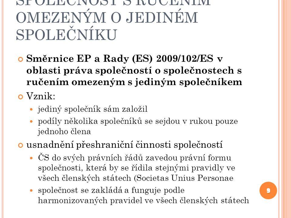 MEZINÁRODNÍ FÚZE AKCIOVÝCH SPOLEČNOSTÍ směrnice EP a Rady č.