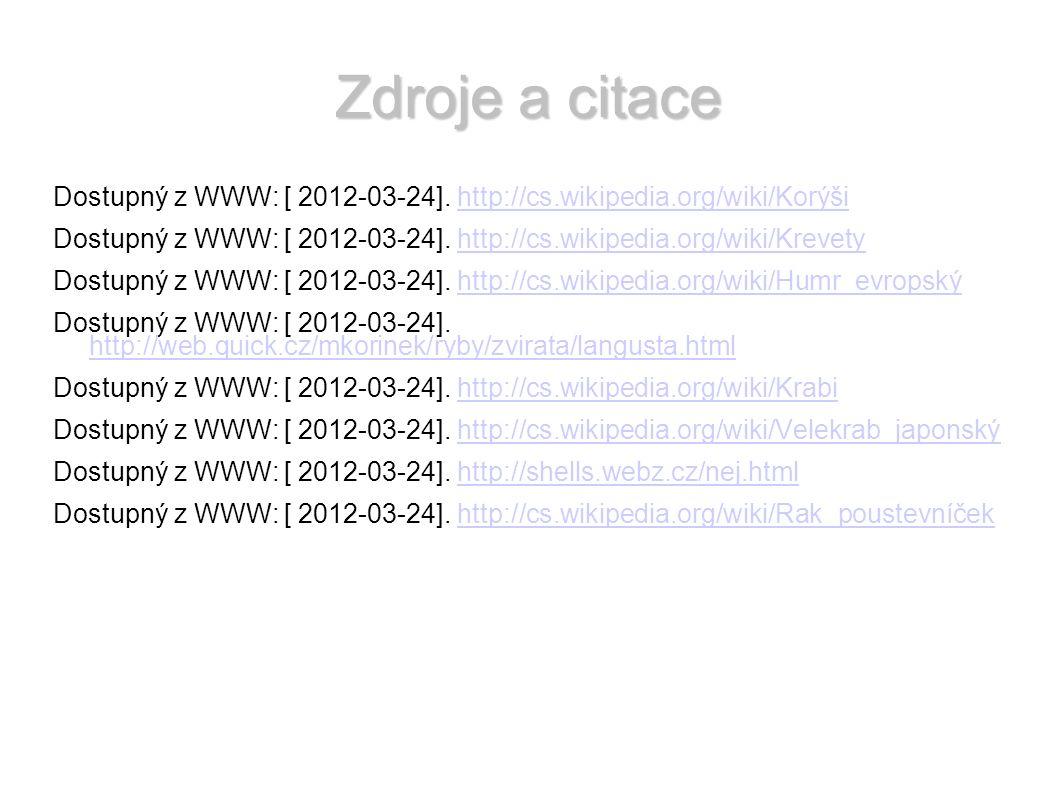 Zdroje a citace Dostupný z WWW: [ 2012-03-24].