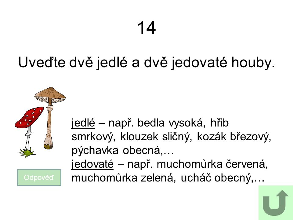 14 Uveďte dvě jedlé a dvě jedovaté houby. Odpověď jedlé – např. bedla vysoká, hřib smrkový, klouzek sličný, kozák březový, pýchavka obecná,… jedovaté