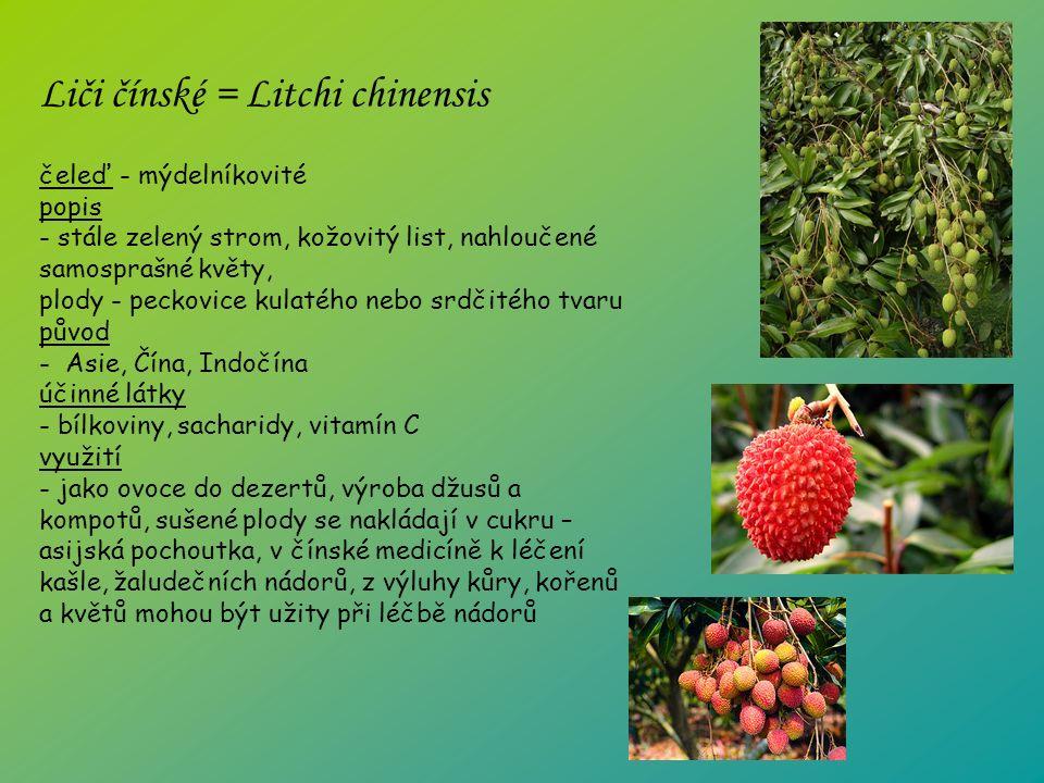 čeleď - mýdelníkovité popis - stále zelený strom, kožovitý list, nahloučené samosprašné květy, plody - peckovice kulatého nebo srdčitého tvaru původ - Asie, Čína, Indočína účinné látky - bílkoviny, sacharidy, vitamín C využití - jako ovoce do dezertů, výroba džusů a kompotů, sušené plody se nakládají v cukru – asijská pochoutka, v čínské medicíně k léčení kašle, žaludečních nádorů, z výluhy kůry, kořenů a květů mohou být užity při léčbě nádorů Liči čínské = Litchi chinensis