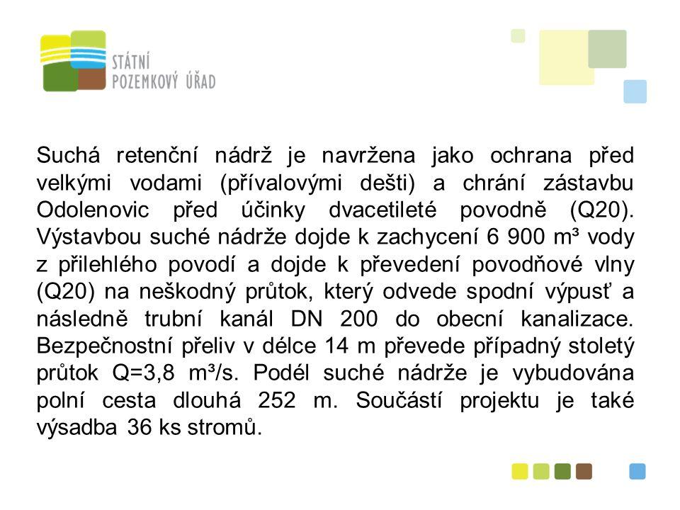 22 Suchá retenční nádrž je navržena jako ochrana před velkými vodami (přívalovými dešti) a chrání zástavbu Odolenovic před účinky dvacetileté povodně (Q20).