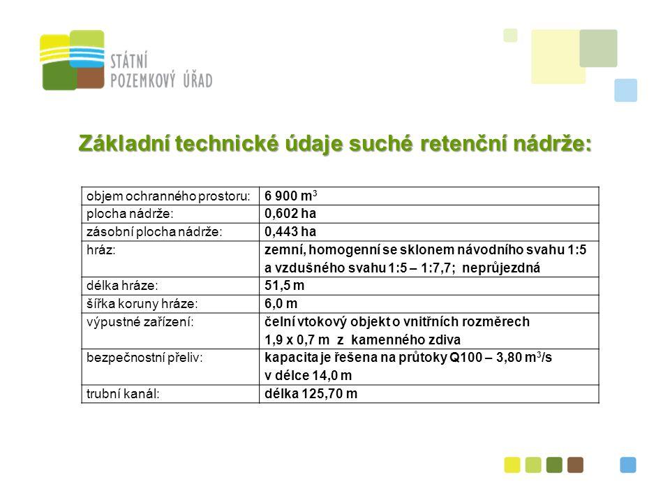 24 Základní technické údaje suché retenční nádrže: objem ochranného prostoru:6 900 m 3 plocha nádrže:0,602 ha zásobní plocha nádrže:0,443 ha hráz: zemní, homogenní se sklonem návodního svahu 1:5 a vzdušného svahu 1:5 – 1:7,7; neprůjezdná délka hráze:51,5 m šířka koruny hráze:6,0 m výpustné zařízení: čelní vtokový objekt o vnitřních rozměrech 1,9 x 0,7 m z kamenného zdiva bezpečnostní přeliv: kapacita je řešena na průtoky Q100 – 3,80 m 3 /s v délce 14,0 m trubní kanál:délka 125,70 m