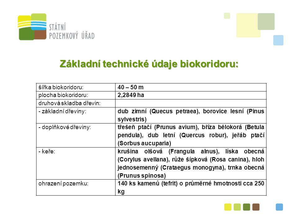 37 Základní technické údaje biokoridoru: šířka biokoridoru:40 – 50 m plocha biokoridoru:2,2849 ha druhová skladba dřevin: - základní dřeviny: dub zimní (Quecus petraea), borovice lesní (Pinus sylvestris) - doplňkové dřeviny: třešeň ptačí (Prunus avium), bříza bělokorá (Betula pendula), dub letní (Quercus robur), jeřáb ptačí (Sorbus aucuparia) - keře: krušina olšová (Frangula alnus), líska obecná (Corylus avellana), růže šípková (Rosa canina), hloh jednosemenný (Crataegus monogyna), trnka obecná (Prunus spinosa) ohrazení pozemku:140 ks kamenů (tefrit) o průměrné hmotnosti cca 250 kg
