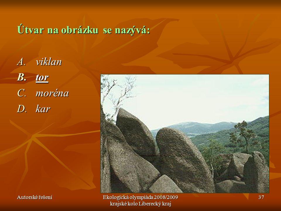Autorské řešeníEkologická olympiáda 2008/2009 krajské kolo Liberecký kraj 37 Útvar na obrázku se nazývá: A.viklan B.tor C.moréna D.kar