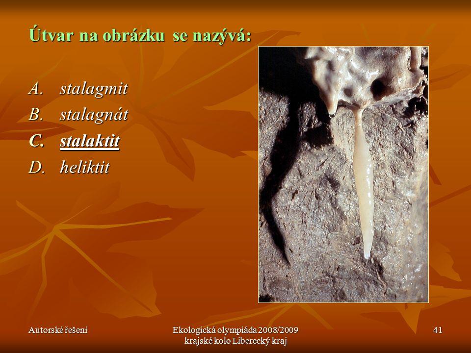 Autorské řešeníEkologická olympiáda 2008/2009 krajské kolo Liberecký kraj 41 Útvar na obrázku se nazývá: A.stalagmit B.stalagnát C.stalaktit D.heliktit