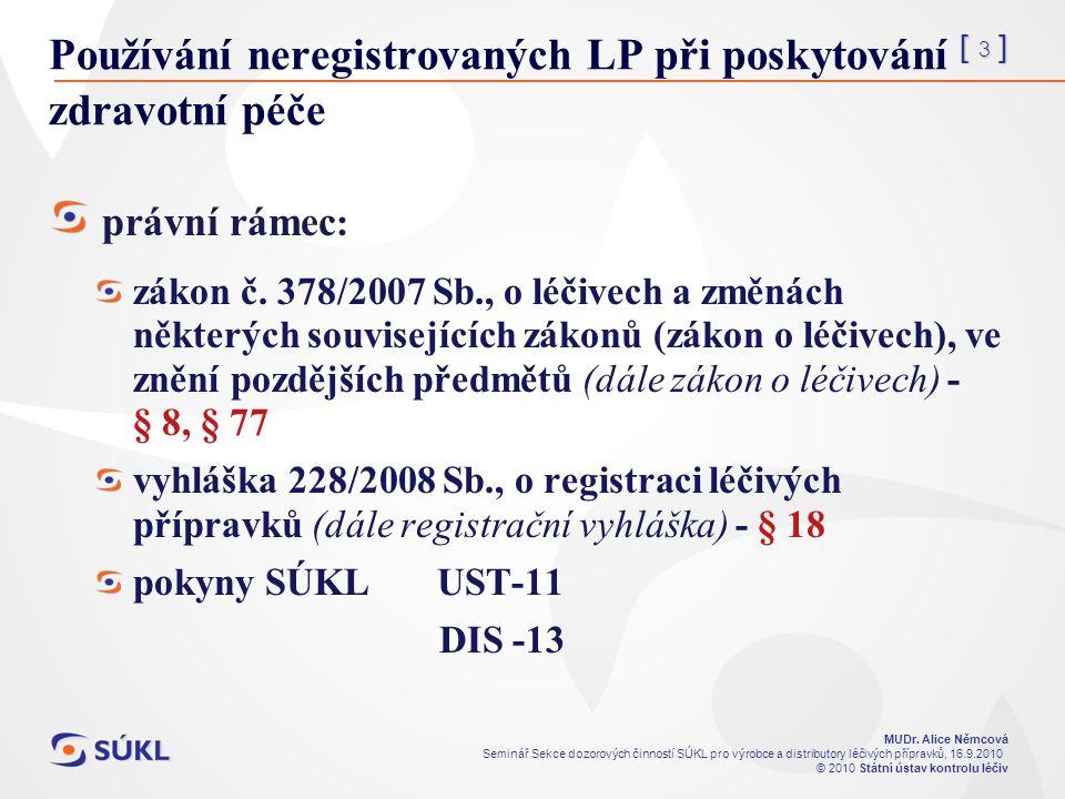 [ 3 ] MUDr. Alice Němcová Seminář Sekce dozorových činností SÚKL pro výrobce a distributory léčivých přípravků, 16.9.2010 © 2010 Státní ústav kontrolu